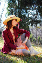 light pink vintage 60s dress - maroon vintage blazer - heather gray Target socks