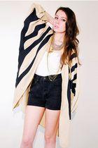 beige vintage jacket - black vintage shorts