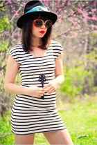 black striped asos dress - dark gray cowboy vintage hat
