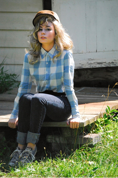 black high-waisted jeans - brown hunters cap vintage hat - light blue gingham vi