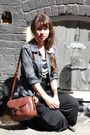 Black-anthropologie-dress-gray-shirt-brown-vintage-bag-brown-vintage-shoes