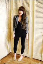 gray vintage jacket - black Guess dress - black leggings - beige vintage shoes