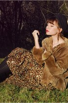 light brown vintage coat - dark brown Jeffrey Campbell shoes