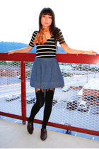 black top - orange vintage scarf - blue skirt - black House of Holland tights -