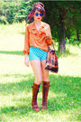 Brown-farylrobin-boots-magenta-vintage-scarf-dark-brown-vintage-bag-blue-h
