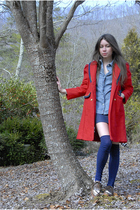 red vintage coat - blue Gap shirt - blue Forever 21 skirt - blue H&M socks - bro