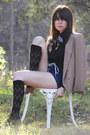 tan t-strap vintage shoes - camel vintage blazer - black vintage shirt