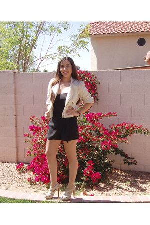 beige H&M jacket - black Forever 21 dress - beige Steve Madden shoes