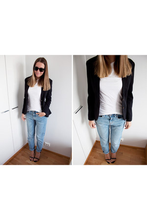 black H&M blazer - sky blue H&M jeans - black Nelly heels