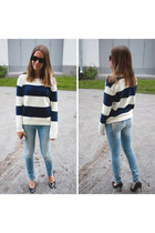 black H&M heels - sky blue GINA TRICOT jeans - white Nelly jumper