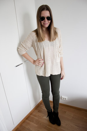 neutral Sheinside jumper - black Nelly boots - dark green Zara jeans