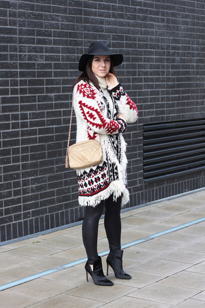 black Zara boots - off white Zara cardigan