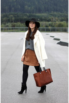 white Hallhuber coat - brown Daniel Wellington watch - tawny Mango skirt