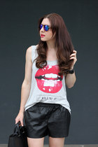 black leather H&M shorts
