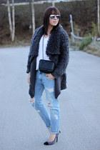gray OASAP cardigan - light blue Zara jeans