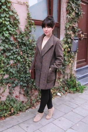 wool thrifted vintage coat - brown Primark purse - lace American Apparel blouse