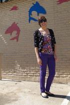 purple Jeans jeans - black cardigan - red top - H&M flats