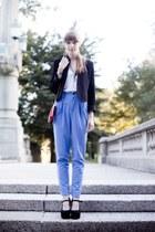 black Kimichi Blue blazer - red gold chain bag - white bow pattern Forever21 top