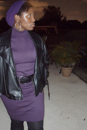 purple Sweater dress - black belt - leather jacket - fishnet with grey under sto