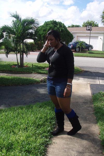 black New York & Company sweater - blue Gap shirt - torrid jeans - blue socks -