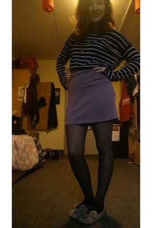 black striped knit H&M jumper - puce thick body con Simons skirt