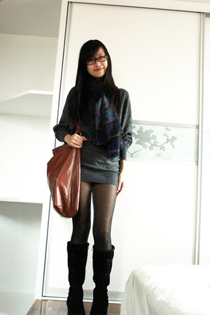 gray knit H&M sweater - sparkly tights - brown H&M bag