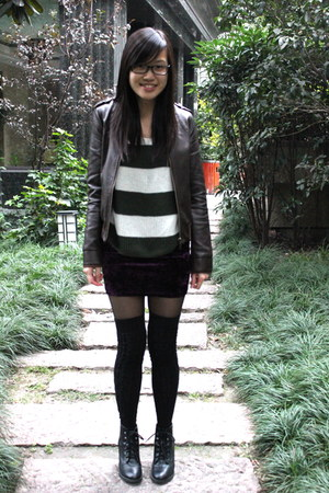 velvet Monki skirt - black H&M boots - striped no brand sweater