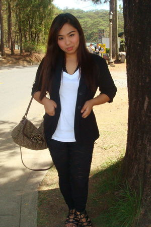 white calvin klein blouse - black blazer - leggings - black shoes
