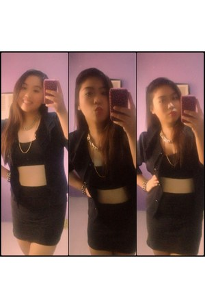 dark gray warehouse blazer - black cotton DIY bra - black H&M skirt
