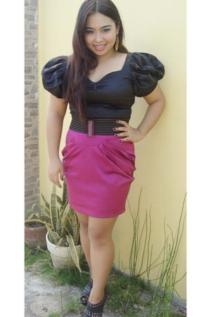 black blouse - charcoal gray boots - hot pink skirt