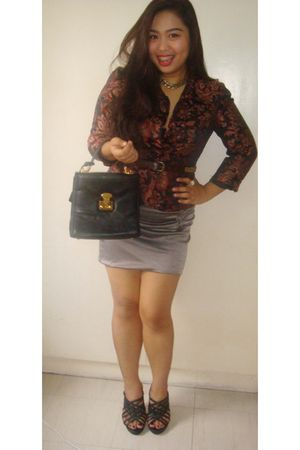 blazer - silver skirt - black shoes - black purse