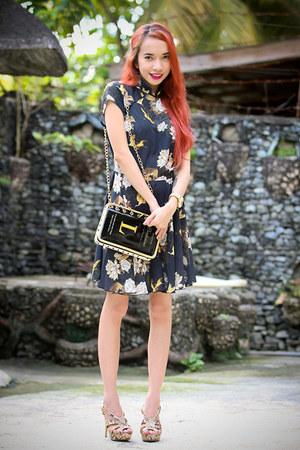 navy inlovewithfashion dress - black OASAP bag - tan memorata heels