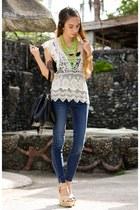 off white crochet OASAP blouse - black bucket maxenes closet bag