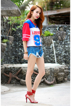 blue OASAP shorts - red OASAP t-shirt