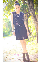 gray Forever 21 boots - black dress - silver Forever 21 accessories