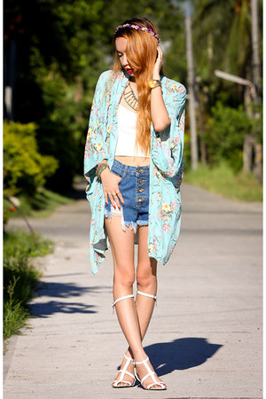 light blue kimono inlovewithfashion cardigan - blue denim OASAP shorts