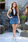 Blue-denim-vaintage-shorts-white-lola-shoetique-heels