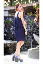 navy open back Love dress - blue Jeffrey Campbell heels