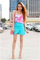 pink FEMMEX bag - hot pink pinkaholic top - nude Forever 21 heels
