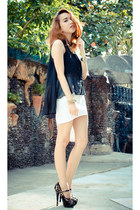 black sheer top - white asymmetrical skirt