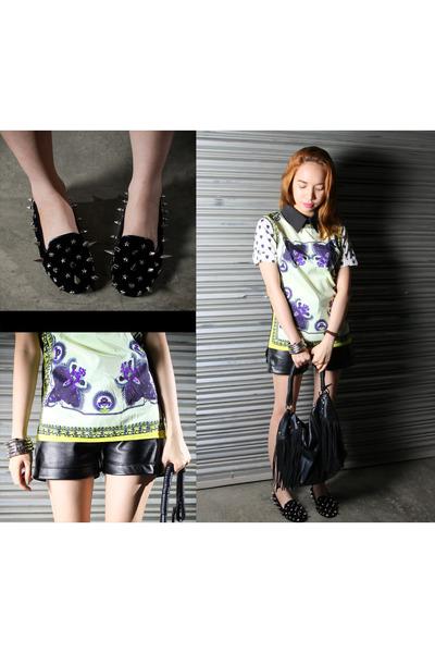 black spike heels