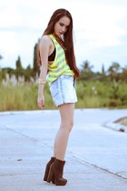 gray Forever 21 boots - light blue shorts - yellow Forever 21 top