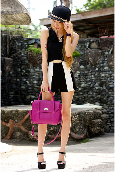black stripe Koogal shorts - magenta candy maxenes bag