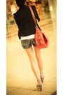 Red-heels-black-blazer-carrot-orange-bag-navy-shorts-white-top