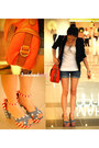 Black-blazer-carrot-orange-bag-navy-shorts-red-heels-white-top