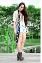dark gray Forever 21 boots - black scarf - light blue shorts