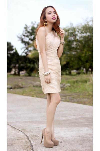 cream ruche dress