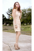 cream ruche dress