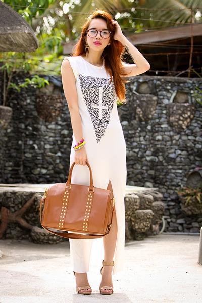 burnt orange bag - white dress