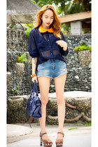 navy denim Topshop shorts